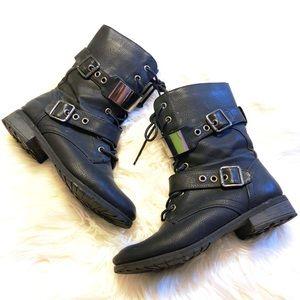 Gunmetal Multi-Buckle Combat Boots 🖤